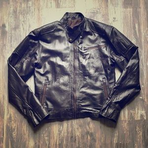Other - Brown Leather Moto Jacket
